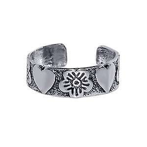 Nickel Free Sterling Silver Orchids & Hearts Antique Finish Toe Ring