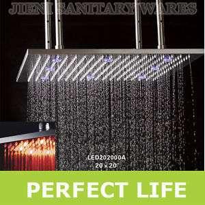 20 Square Stainless Steel LED Rain Shower Head PL021