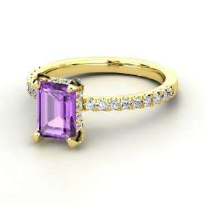 Reese Ring, Emerald Cut Amethyst 14K Yellow Gold Ring with