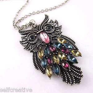 Retro Silver Colorful Large Owl Pendant Long Necklace