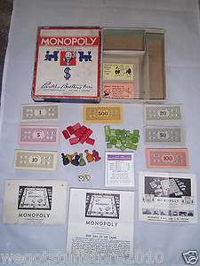 1936 Monolopy Original Wood Player Pieces Houses Hotels Near Complete