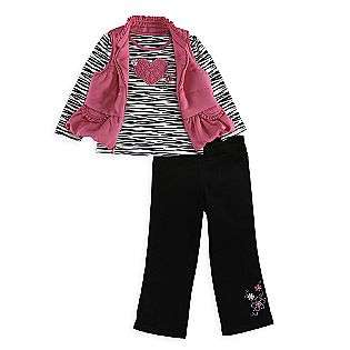 Toddler Girls 3 Piece Zebra Print Vest Set, Corduroy Pant  Kids Play