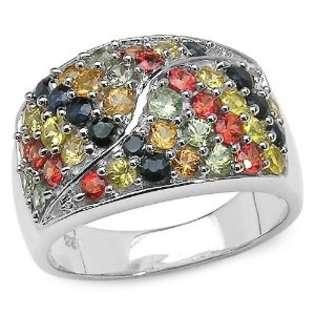 Jewelrydays 14Kt White Gold Blue Sapphire Diamond Ring