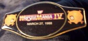 NEW 1988 WWE CHAMPIONSHIP WRESTLEMANIA IV BELT PIN M1D