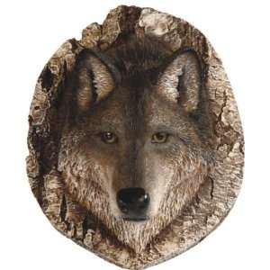 Wildlife Wolf Head on Cracked Rock Hunters Plaque Statue