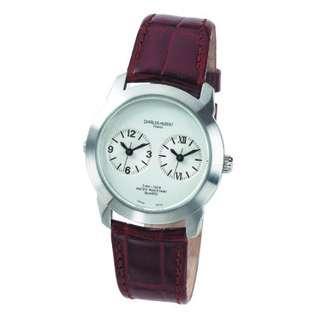 Hubert  Paris Mens Stainless Steel Case Dual Time Quartz Watch #3520 A