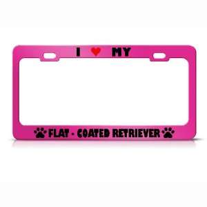 Flat Coated Retriever Paw Love Heart Pet Dog License Plate Frame Tag