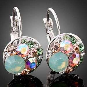 gold GP Pacific Opal & Colorful Swarovski Crystal Earrings