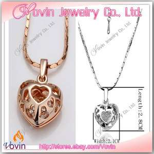 18K Gold Swarovski Crystal GP Multi Heart Necklace Set N001