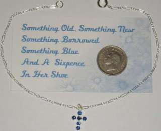 Blue Cross Brides Anklet Sterling Silver Sixpence