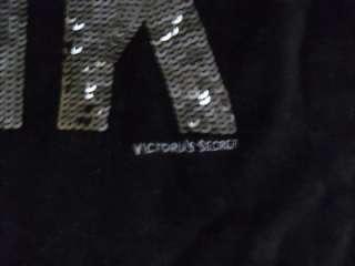 LOVE PINK Sequin BLING Velour HOODIE Black Sweatshirt NWT M