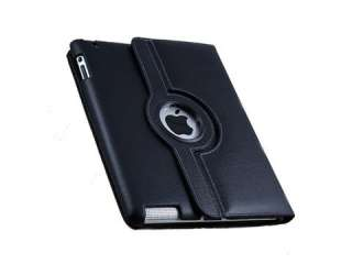Rotating Magnetic Leather Case Smart Cover Swivel Stand Black