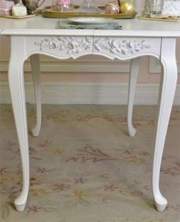 Cottage Chic White Oval Dining Table Two Leaves French Style Roses