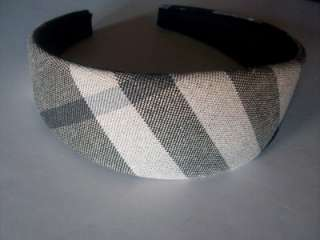 BURBERRY Head Band Nova Check Plaid Hair Accessory Designer Black Gray