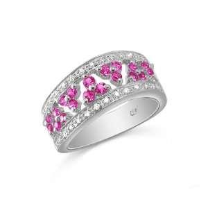 Gold .54ct Pink Sapphire and .15ct Diamond Band Size 7.5 Jewelry