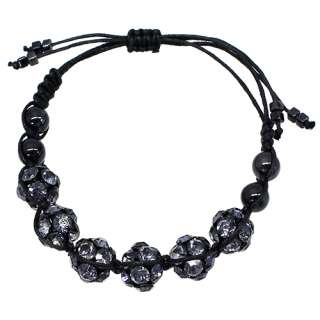 Crystal Pave Ball Linked String Bracelet Gold Clear