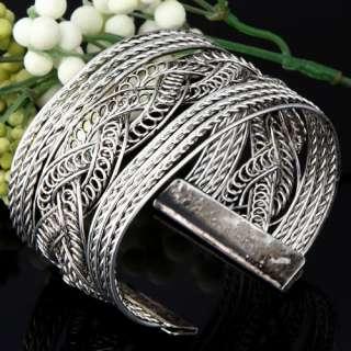 Manmade Tibetan Silver Hollow Wide Knitted Cuff Bracelet Fashion 45g 2