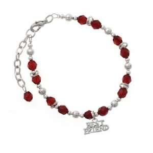 Silver Best Friend Maroon Czech Glass Beaded Charm Bracelet [Jewelry