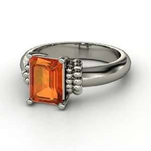 Beluga Ring, Emerald Cut Fire Opal Sterling Silver Ring