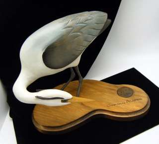 Ducks Unlimited Carved Blue Heron Bird Gordon Alcorn DU Medallion In