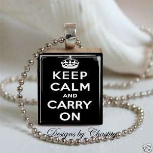 Keep Calm and Carry On Black Scrabble Charm Pendant Necklace