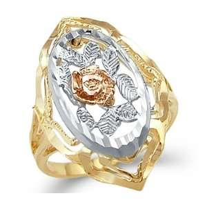 14k Yellow White n Rose Tri Color Gold Rose Flower Ring Jewelry