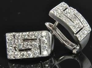 Estate Vintage 14K White Gold Diamond Pave Greek Key French Clip