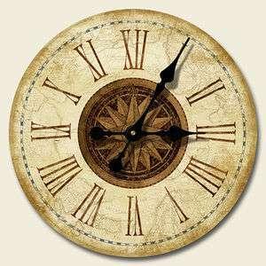 XL 16 Round Wooden Wall Clock Phoenix Antique Sailing Map Kitchen