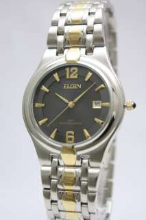 Elgin Men Two Tone Stainless Steel Dress Date Watch 38mm FG068