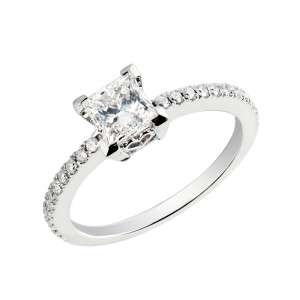 CTW SI E PRINCESS CUT DIAMOND & ACCENTS ENGAGEMENT RING 14K WHITE GOLD