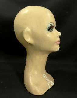 DECO MANNEQUIN HEAD BUST STORE DISPLAY PAPER MACHE HAND PAINTED DOLL