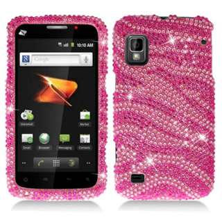 Pink Zebra Bling Hard Snap On Cover Case for ZTE Warp N860 w/Screen