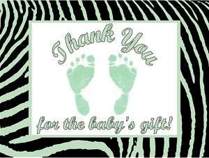 Boy Zebra Print Green Feet Baby Shower Thank You Cards Personalized