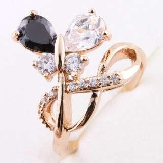 Black white Butterfly Designer Award 18kgp Ring