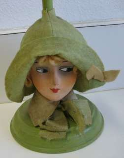 Antique German paper mache lady head green hat stand