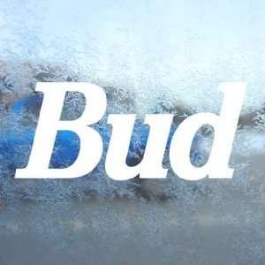 Budweiser White Decal Vintage Car Window Laptop White
