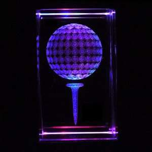Golf Ball 3D Laser Etched Crystal includes Two Separate LEDs Display