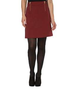 Dark Red (Red) Zip Front Ponte Skirt  228914561  New Look