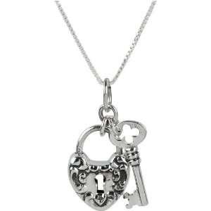Heart Lock and Key Padlock Pendant Necklace on 18 Bracelet Box Chain