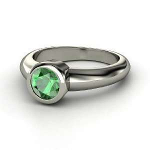 Spotlight Ring, Round Emerald Sterling Silver Ring Jewelry