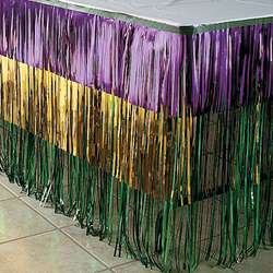 MARDI GRAS Party Decor FOIL FRINGE TABLE SKIRT