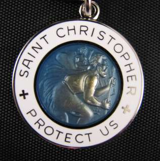 Saint Christopher Protect Us Blue & White Keychain MM1939DB/WH/RNX