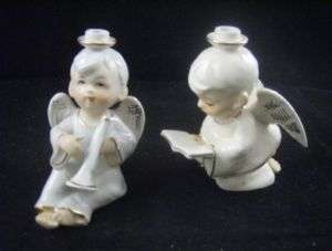 Vintage H.I. Co ANGELS w/ Trumphet CANDLE HOLDERS