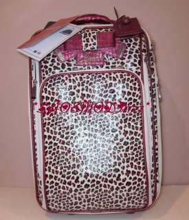 BRICKEN Travel Roller Carry On Luggage Suitcase Bag Pink Black Leopard