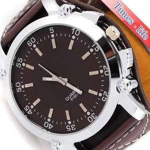 Full Brown Wrist Watch Quartz Mens Boy Big Leather Band Gift