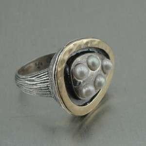 Hadar Designers Israel Gold Silver Pearl Ring 7 (I r)Y