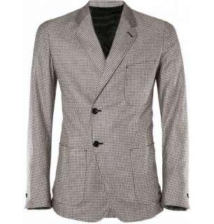 Clothing  Blazers  Single breasted  Woven Check Silk Blazer