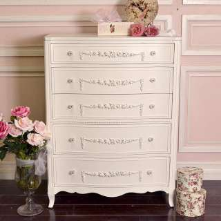 Cottage Chic White 5 Drawer Dresser Highboy French Vintage Style Roses
