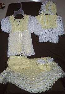Crochet Baby Dress (Sweater,Hat,Bootie) or Afghan;Layette Set