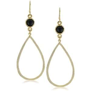 Lisa Stewart Hammered Tear Drop with Stone Earrings Jewelry
